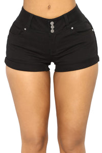 Z| Chicloth Black Mid Rise Triple Button Stretch Denim Shorts