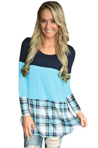 Chicloth Black Mint Block Plaid Splice Long Sleeve Top