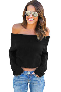 Chicloth Black Off Shoulder Faux Marten Knit Sweater