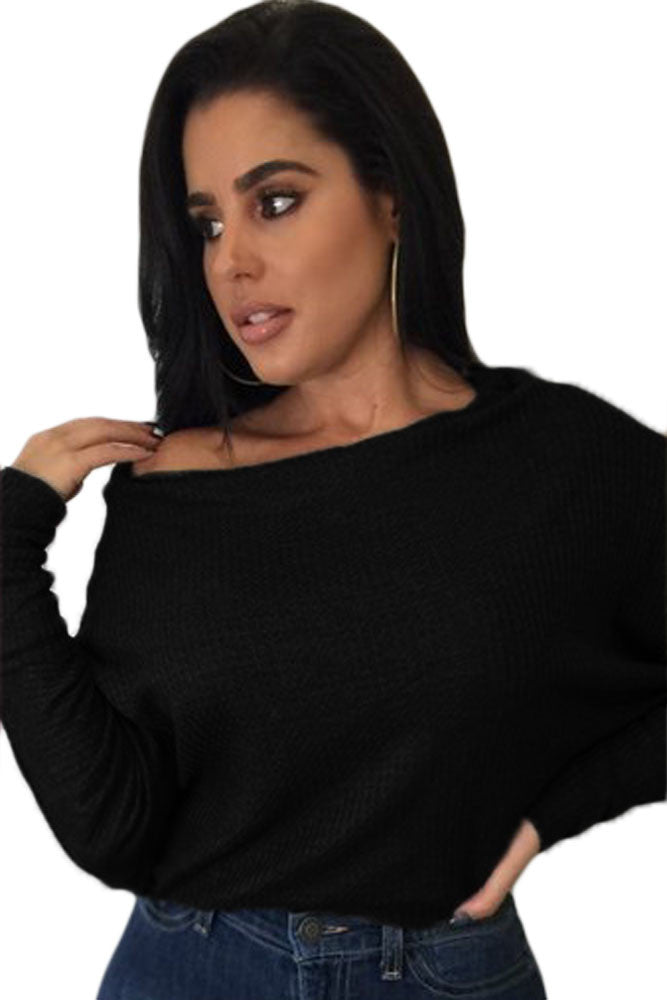 Chicloth Black Off Shoulder Lightweight Chunky Sweater