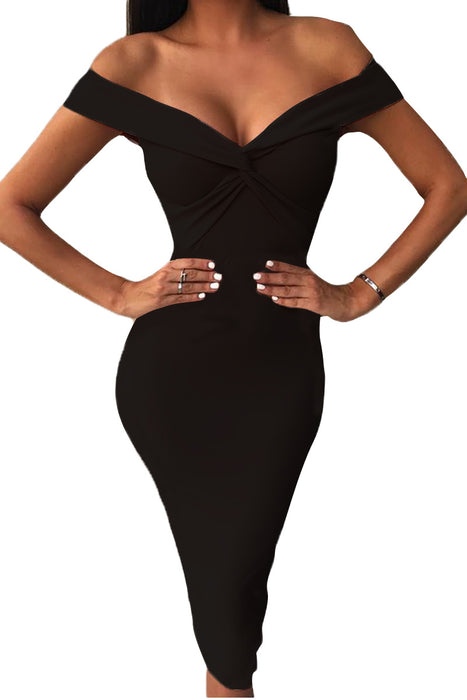 Z| Chicloth Black Off Shoulder Twist Front Midi Dress-Chicloth