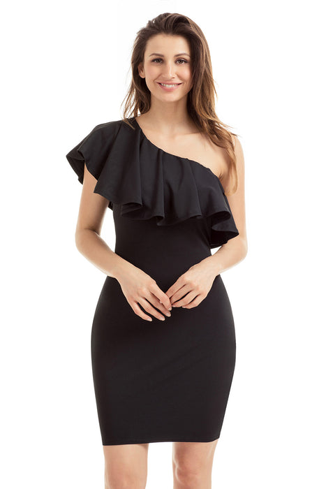 Chicloth Black One Shoulder Party Cocktail Mini Dress-Mini Dresses-Chicloth