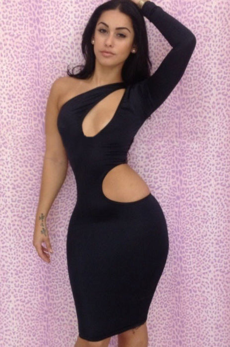 Black One-shoulder Cutout Club Bodycon Dress-Chicloth