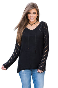 Chicloth Black Open Knit Sleeve Cutout V Neck Sweater