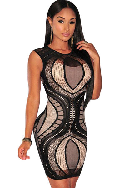 Chicloth Black Optical Lace Nude Illusion Sleeveless Bodycon Dress