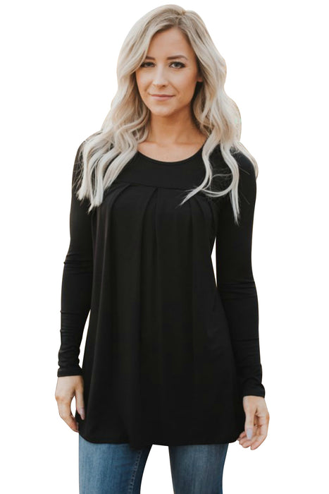 Chicloth Black Pleated Flowy Long Sleeve Top-Women's Clothes||Blouses & Tops-Chicloth