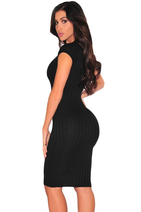 Chicloth Black Plunge V Neck Ribbed Bodycon Dress-Chicloth