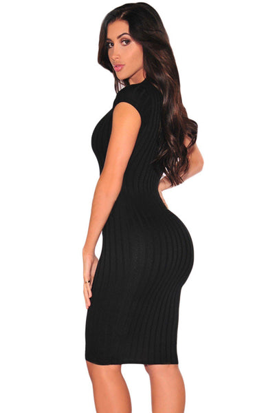 Chicloth Black Plunge V Neck Ribbed Bodycon Dress