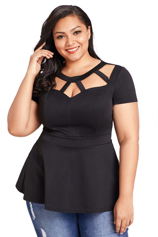 A| Chicloth Black Plus Size Caged Top-Plus Size Tops-Chicloth