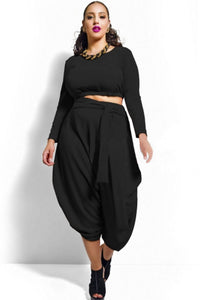 Chicloth Black Plus Size Crop Top Draped Convertible Pants Set