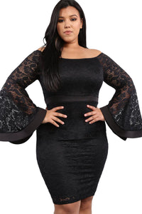 Z| Chicloth Black Plus Size Long Bell Sleeve Lace Dress
