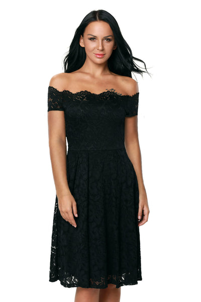 Chicloth Black Plus Size Scalloped Off Shoulder Flared Lace Dress