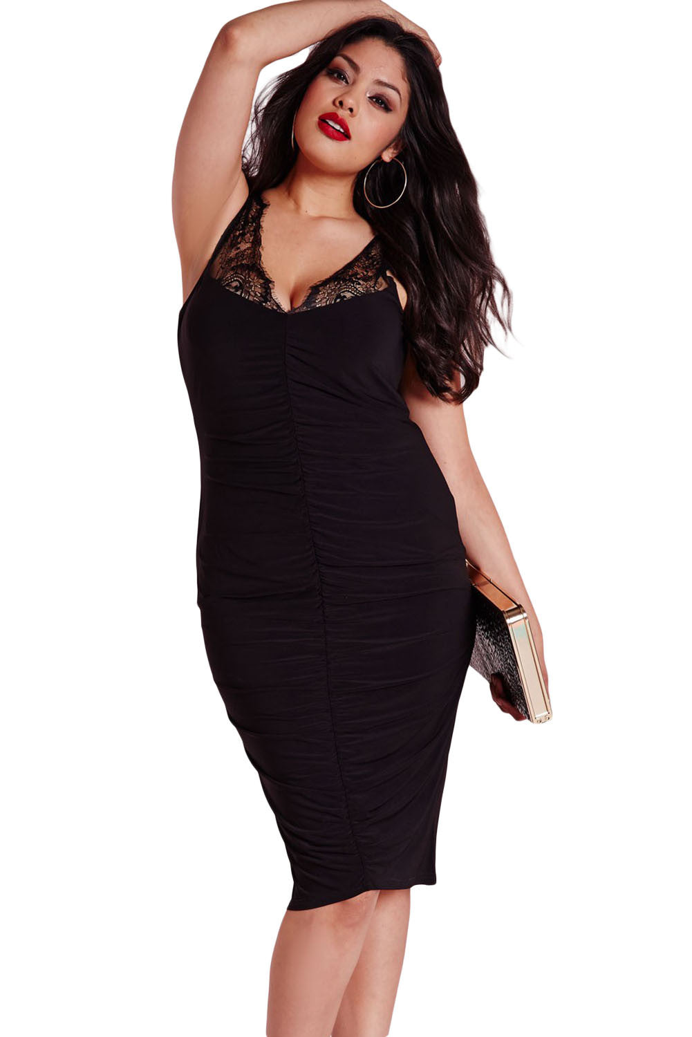 Chicloth Black Plus Size Slinky Lace Ruched Dress