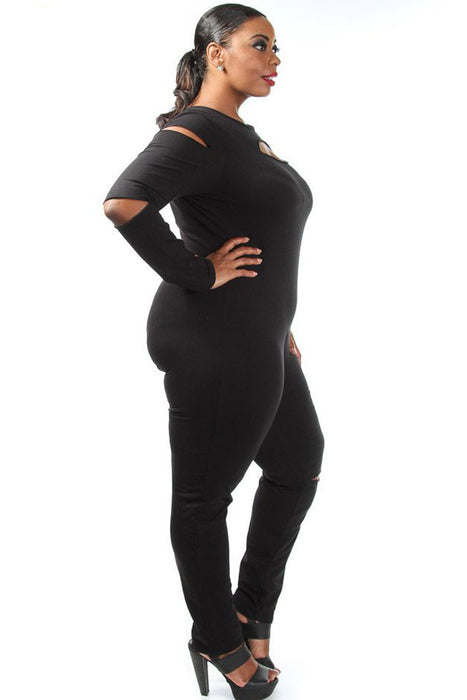 Chicloth Black Plus Size Slit Long Sleeve Jumpsuit-Jumpsuits & Rompers-Chicloth