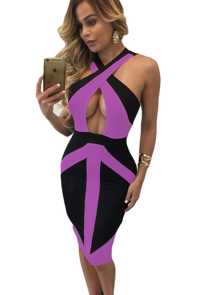 Chicloth Black Purple Colorblock Cross Front Bodycon Dress-Chicloth
