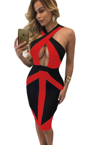 Chicloth Black Red Colorblock Cross Front Bodycon Dress