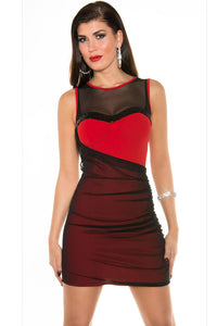 Chicloth Black Red Mesh Sequined Bodycon Dress