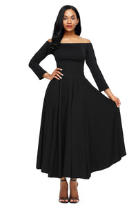 A| Chicloth Black Retro High Waist Pleated Belted Maxi Skirt