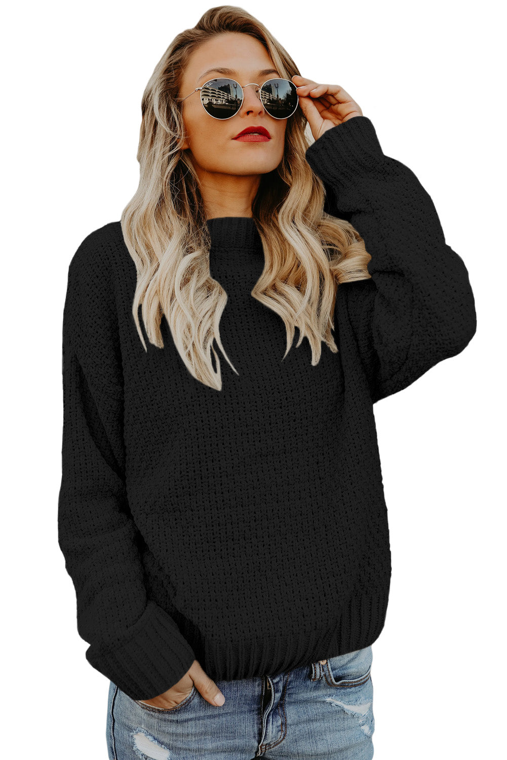 A| Chicloth Black Reversible Velvet O Neck Sweater-Sweaters-Chicloth