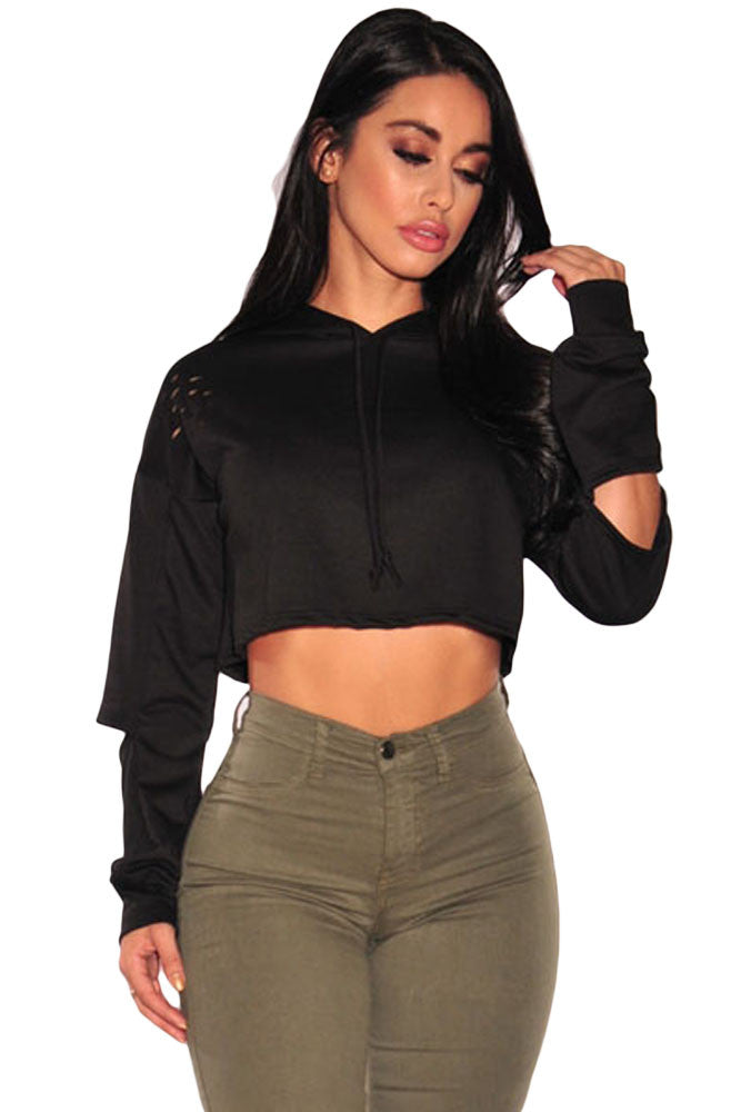 Black Ripped Hoodie Crop Top-sale-Chicloth