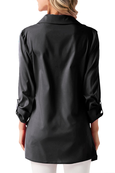 Chicloth Black Roll Tab Long Sleeve Asymmetric Button Blouse-Women's Clothes||Blouses & Tops-Chicloth