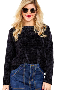 Z| Chicloth Black Round Neck Velvet Cropped Sweater-Chicloth