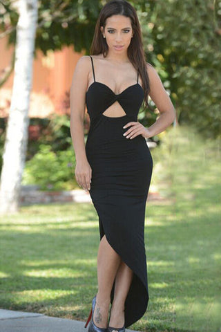 Black Ruched Asymmetric Maxi Dress