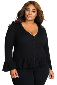 Chicloth Black Ruffle Hem V Neck Plus Size Cardigan