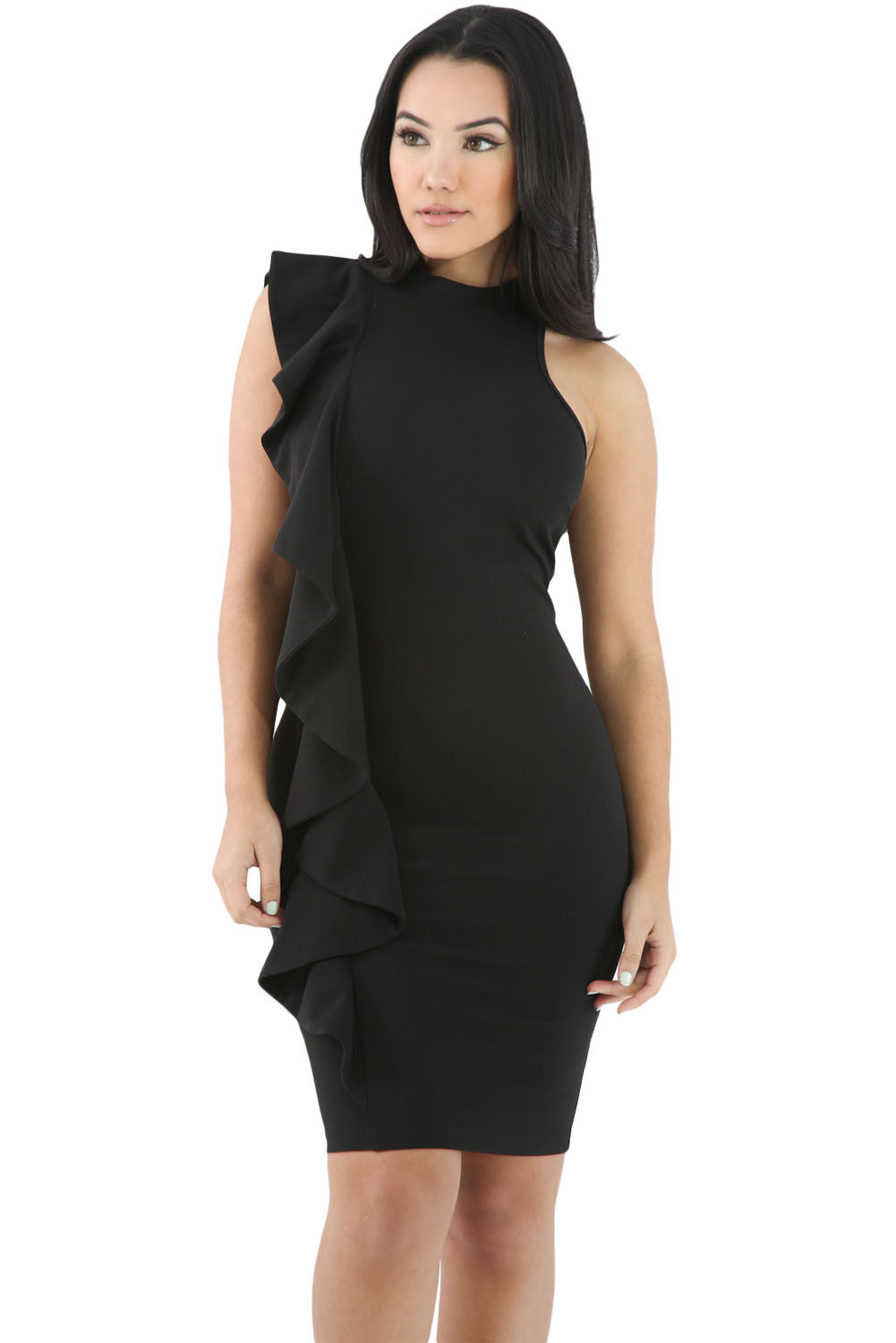 Chicloth Black Ruffle Trim Body hugging Mini Dress
