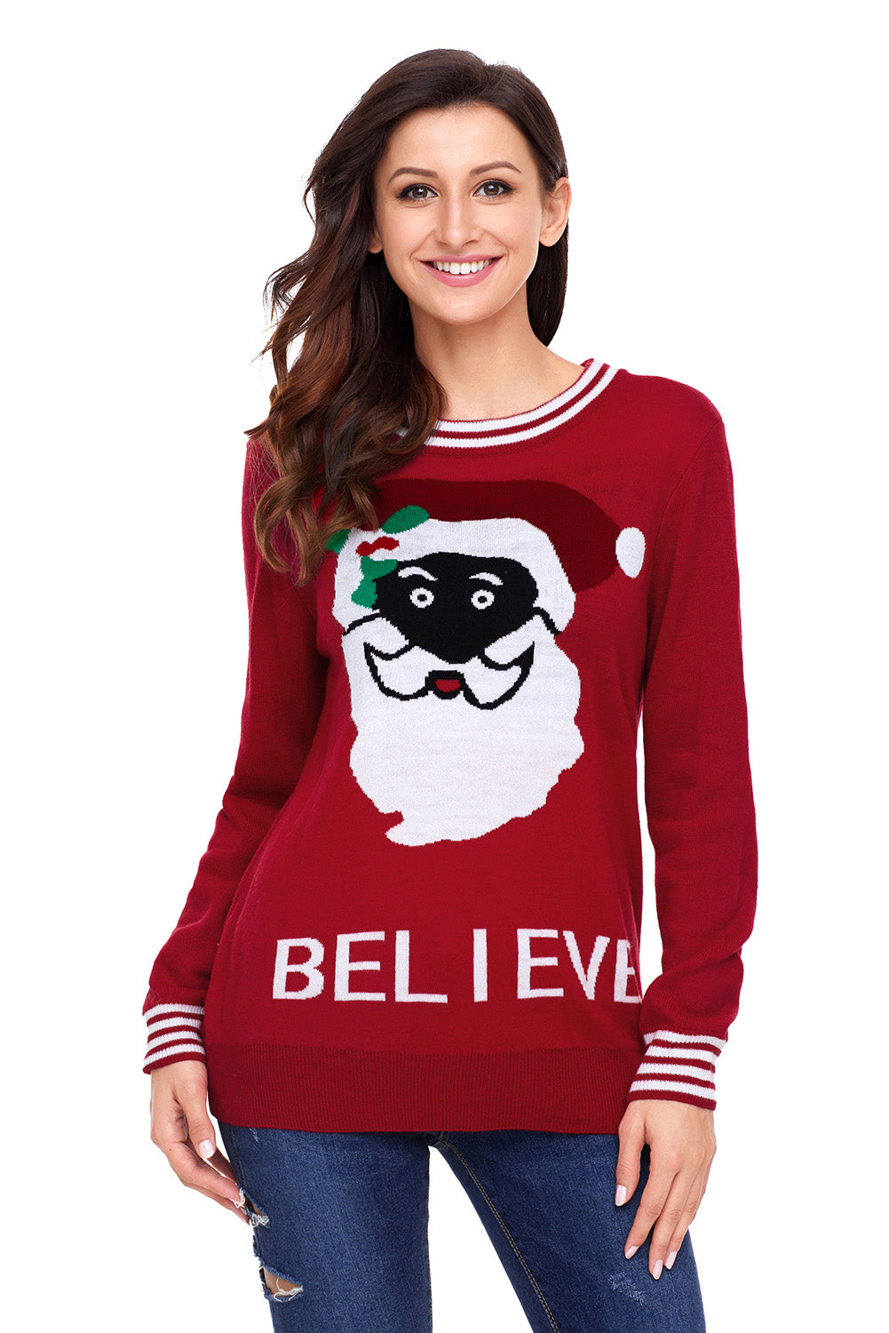 Chicloth Black Santa Christmas Sweater In Red - L / Red