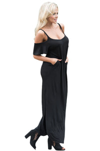 Chicloth Black Sassy Open Shoulder Maxi Dress