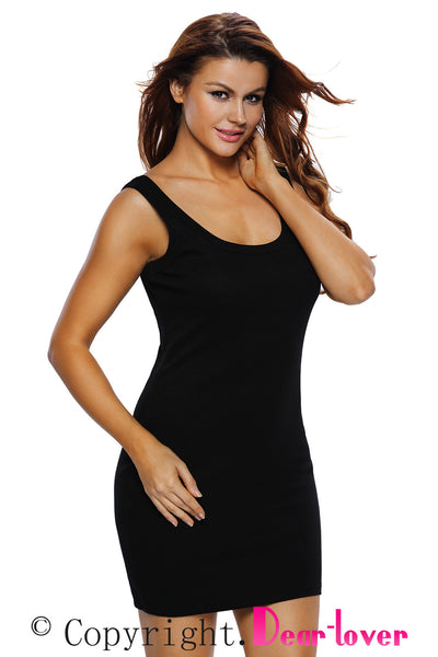 Chicloth Black Scoop Neck Body hugging Mini Tank Dress