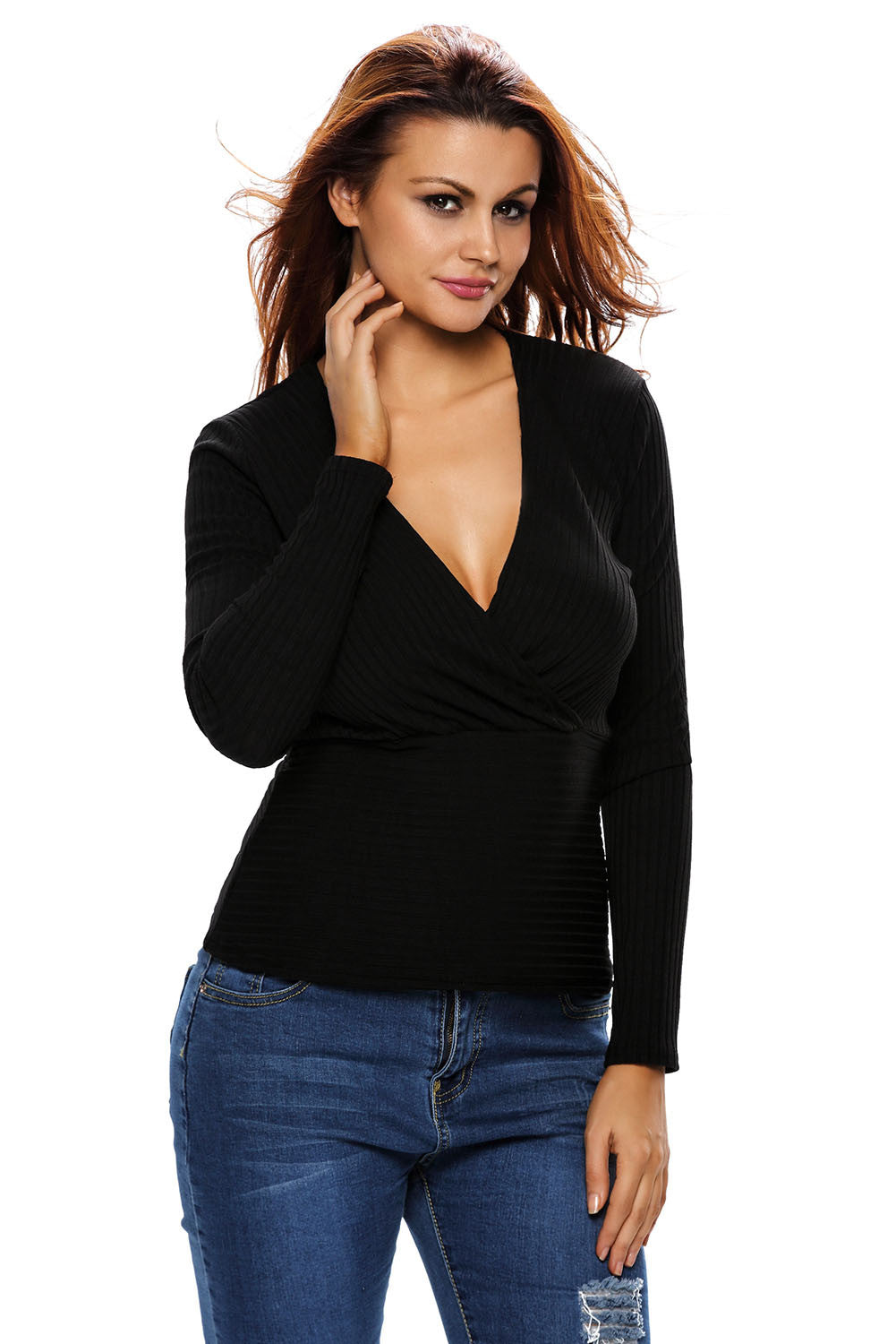 Black Sexy Crop Plunging Cross V Neck Stretch Knitwear Top