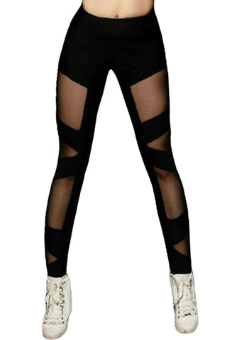 Z| Chicloth Black Sexy Cross Mesh Sports Leggings