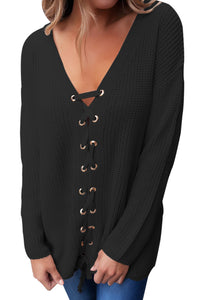 Chicloth Black Sexy V Neck Lace up Front Sweater