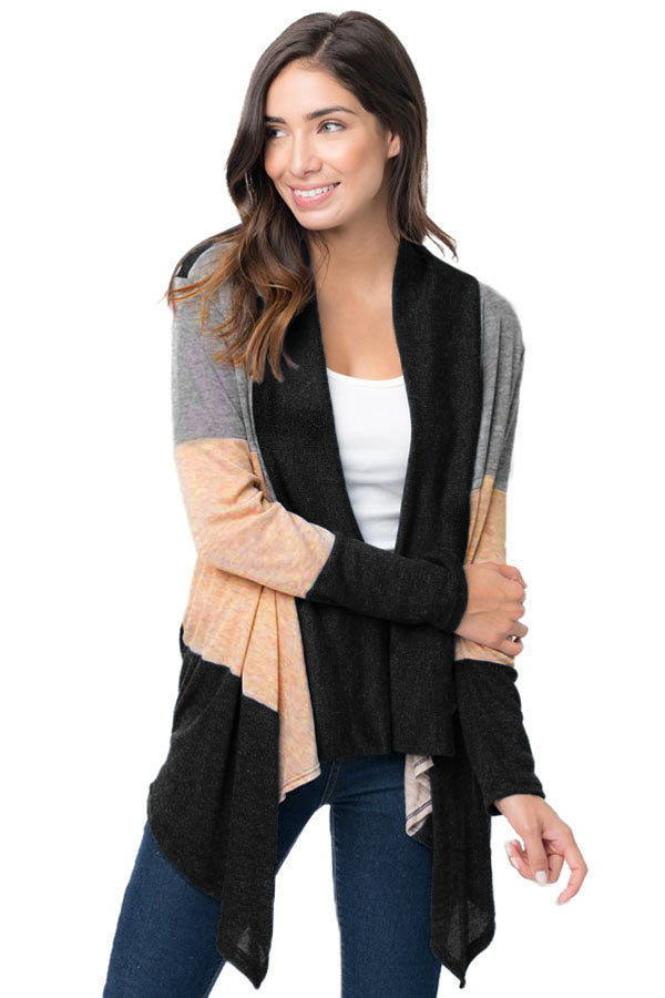 Chicloth Black Shawl Neck Colorblock Long Sleeve Cardigan