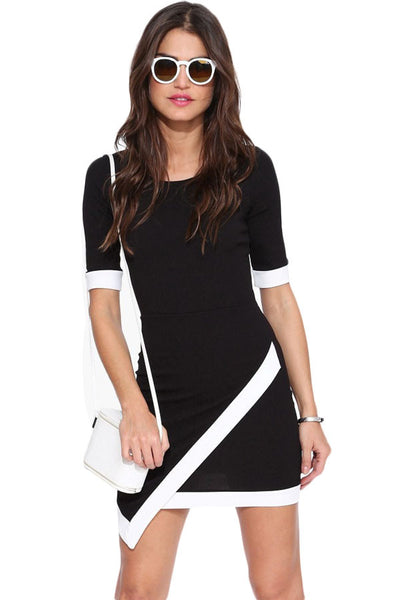 Chicloth Black Short Sleeve Asymmetric Bodycon Dress