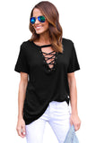 Chicloth Black Short Sleeves Lace up Slub Cotton Tee