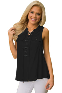 Chicloth Black Sleeveless Tank Top with Lace up-Women's Clothes||Vests & Waistcoats-Chicloth