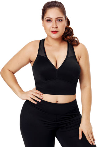 Z| Chicloth Black Sleevelss Racerback Plus Size Yoga Bra