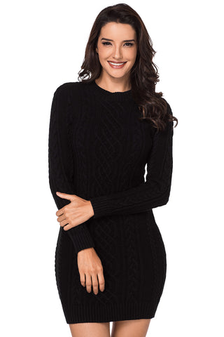 Z| Chicloth Black Slouchy Cable Sweater Dress