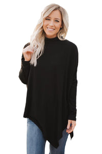 Chicloth Black Soft Faux Poncho High Neck Sweater
