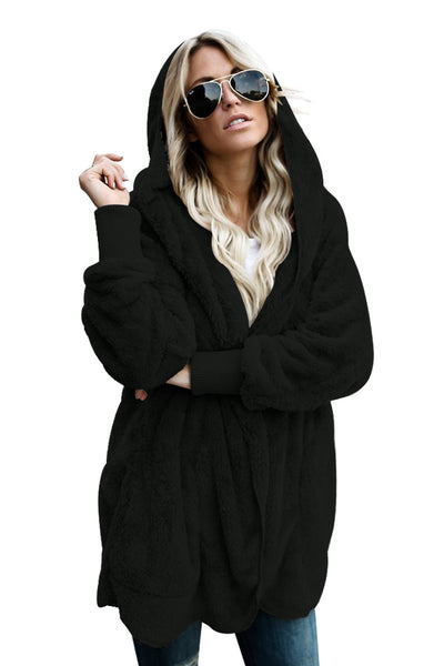 A| Chicloth Black Soft Fleece Hooded Open Front Coat-Coats-Chicloth