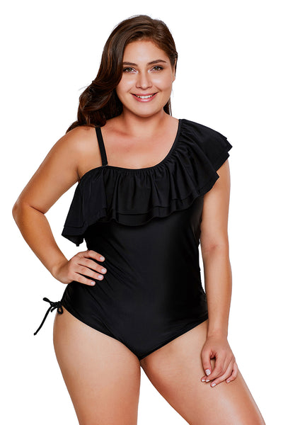 Chicloth Black Spaghetti Strap One Shoulder Frill Teddy Swimsuit