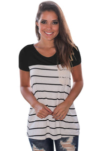 Chicloth Black Splice Striped Short Sleeve T-shirt