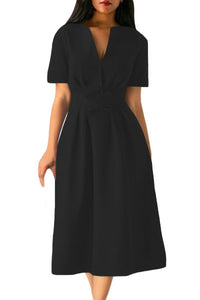 Chicloth Black Split Neck Short Sleeve Midi Dress with Bowknots