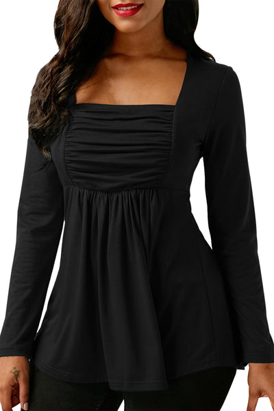 Chicloth Black Square Neckline Ruched Long Sleeve Blouse-Women's Clothes||Blouses & Tops-Chicloth