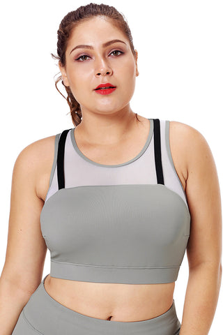 Z| Chicloth Black Strap Detail Gray Yoga Crop Top