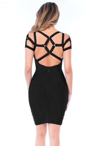 Chicloth Black Strappy Bandage Dress