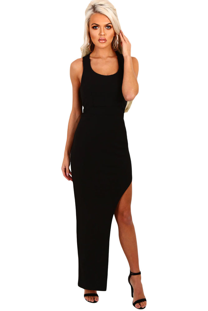Chicloth Black Strappy Side Split Maxi Dress-Maxi Dresses-Chicloth